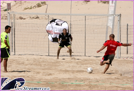 "<div align=""center""><strong>Kicking the ball to the net at Dalila beach Ashqelon - A Summer time beach football tournament</strong><br /></div>"