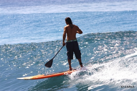 "<div align=""justify""><strong>Classic photo of a classic surfer.. Eli Zarka surfing on the Paddle Board with a great style. Click on main Photo to watch his Album</strong><br /> </div>"