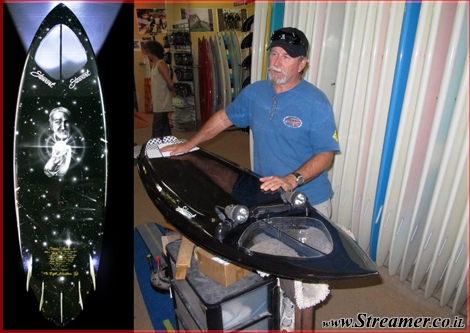 "<font color=""#333333""><strong>Legendary shaper <font color=""#ff0000"">Bill Stewart </font>presenting the Night Stalker - The first ever headlight Surfboard...:-) Click here to <a href=""http://streamer.co.il/news/view/238/"">read the article</a></strong></font>"