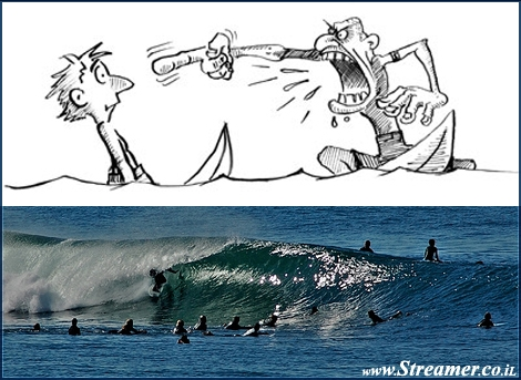 "<font color=""#333333""><strong>the drawing is a reflection of possible situation, when the surf gets crowded it can cause Surf Rage... Surfers are known as laid back people so what brings them to loose their temper? <a href=""http://streamer.co.il/articles/view/95/"">Click here to find out</a></strong></font>"