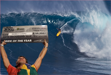 "<font color=""#333333""><strong>Brazilian charger <font color=""#FF0000"">Danilo Couto</font> with the winning wave for this year&rsquo;s Ride of the Year Billabong XXl Awar, Shane Dorian winns 2 awards for the monster paddle and Monster Tube! <a href=""http://streamer.co.il/news/view/246/"">Click here to read the article</a></strong></font>"