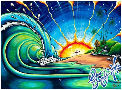 "<font color=""#333333""><strong><font color=""#FF0000"">Drew Brophy</font> is best known for his   surreal surfboard paintings and bright, colorful designs. His art is   easily recognized by a distinct style of energetic, lively characters,   sun &amp; waves. Click here to <a href=""http://streamer.co.il/articles/view/98/"">read the colorful article</a>...:-) The painting presented is called &quot;Sunrise Surf&quot;. Respect</strong></font>"