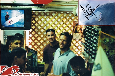 "<font color=""#333333""><strong>Image from the past - In the summer of 2001 the legendary pro surfer <font color=""#FF0000"">Luke Egan</font>  came to Ashqelon. Luke was on a promotion tour for a sunglasses company  Arnette along with him was Ztahi House (Billabong Israel Mannager). he  stoped for a few hours at Shabi's surf shop in Ashqelon and signed on  posters to his fans. photo by Yoav Nakash (Streamer) - Respect</strong></font><br />"