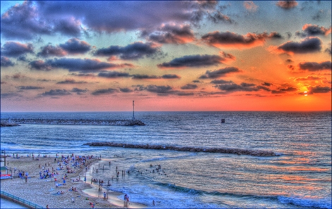 "<font color=""#003366""><strong>a moment of peace with a susnet shot of The Marina beach in Ashqelon. The Photo was edited in the HDR technic resulting of colorful deapth of the local view.</strong></font>"