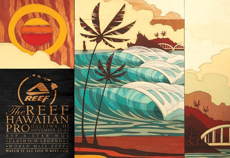 "<font color=""#003366""><strong><font color=""#FF0000"">REEF Hawiian Pro Haleiwa 2011</font> is the final competion of the ASP tour of the year 2011. The competion will be broadcasted live from 12-24 November 2011. <a href=""http://streamer.co.il/news/view/289/"">Click here for details and links</a>. Photo of the day is the poster's event by the artist Erik Abil.</strong></font>"