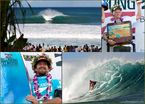 "<font color=""#003366""><strong><font color=""#b70000"">Kieren Perrow</font>  (AUS), 34, has won his inaugural ASP World Tour event, taking out the  Billabong Pipe Masters in Memory of Andy Irons over fellow countrymen  Joel Parkinson (AUS), 30, in four-to-six foot waves. John John Florence  (HAW), 19, also found his way to the podium as the overall winner of the  2011 Vans Triple Crown. <a href=""http://streamer.co.il/news/view/296/"">Click here to read</a></strong></font><br />"