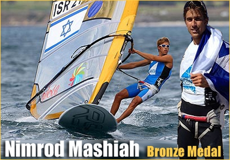 "<font color=""#003366""><strong>23 years old, <font color=""#c10000"">Nimrod Mashiah</font> from Israel, wins the third place and Bronze Medal at the windsurfing world championship in pPerth Australia December 18th 2011. Respect!</strong></font>"