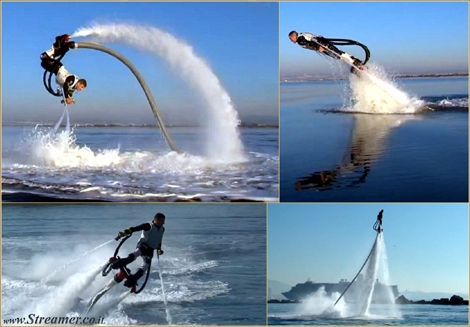 "<div align=""justify""><font color=""#003366""><strong>The French jet ski champion, Frank Zapata, has invented a device that allows him to hover 10 metres above the ocean, jump like a dolphin and do backward-somersaults in mid-air - <a href=""http://streamer.co.il/news/view/299/"">Introducing the Fly Board</a></strong><br /></font></div>"
