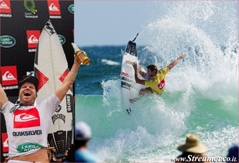 "<strong><font color=""#003366""><font color=""#c10000"">Taj Burrow</font> has conquered the Quiksilver  Pro  Gold Coast 2012, after defeating Adriano de Souza in clean  two-to-three  foot (1 metre) waves at the primary venue of Snapper  Rocks, Australia. <a href=""http://streamer.co.il/news/view/319/"">click here to read the article</a><br /></font></strong>"