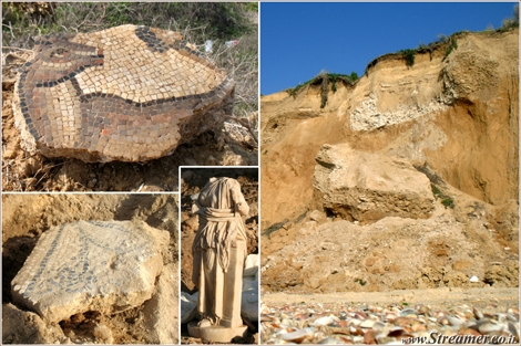"<font color=""#333300""><strong><font color=""#ad0000"">Mayomas archeological site at the northern beach of Ashqelon</font>. after stormy winter the cliff continues trumbling down and while falling, it reveales more of the 2000 years old archeological treasures. <a href=""http://streamer.co.il/news/view/324/"">click here to watch a short clip</a> of revealing mosaic peices at the archeological site, March 2012</strong></font>"