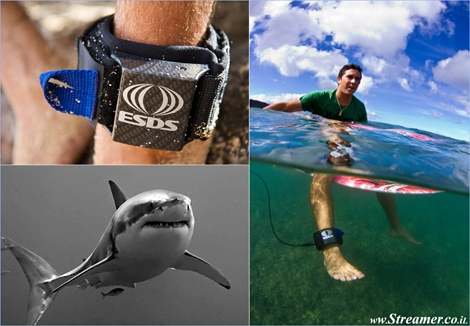 "<font color=""#003366""><strong>The <font color=""#ad0000"">ESDS</font> (Electronic Shark Defense System) is a new design to keep sharks from entering your surrounding area, while you're surfing the best waves of your life. The device emits electrical pulses that interfere with the sharks sensory system while increasing the user's safety. <a href=""http://streamer.co.il/news/view/327/"">Click here to read more</a></strong></font>"